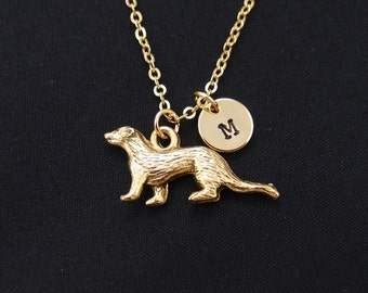 ferret necklace, gold filled, initial necklace, gold ferret charm, ferret charm necklace, ferret jewelry, Christmas gift, birthday gift
