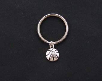 basketball keychain, sterling silver filled, basketball player gift, silver basketball charm keychain, basketball team gifts, christmas gift