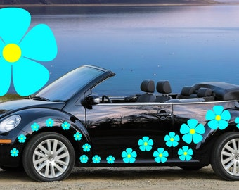 32,blue pansy flower car decals,stickers in three sizes