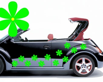 28 Green hippy flower car decals,stickers, graphics 100mm diameter.