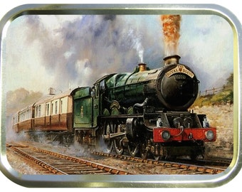 Steam train design 2oz gold tobacco tin,pill box,storage tin