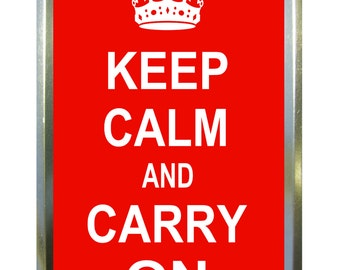 Red Keep Calm design 1oz gold tobacco tin,pill box,storage tin