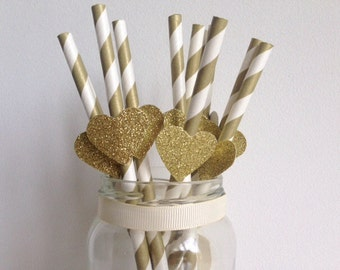 Birthday Wedding Party Gold Stripe and Glitter Gold Heart Straws