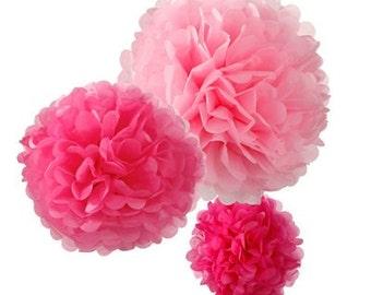 Pink Pom Poms | Wedding Pom Poms | Wedding Decor | Paper Pom Poms | Baby Shower | 3 Per Pack | Pom Poms | Pink