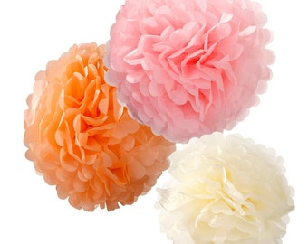 Pom Poms | Paper Pom Poms | Party Decorations | Mixed Pastel Party Pom Poms | 3 Per Pack | Baby Shower Decorations
