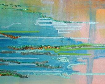 SUMMER RIVER Abstract modern art print from original mixed media
