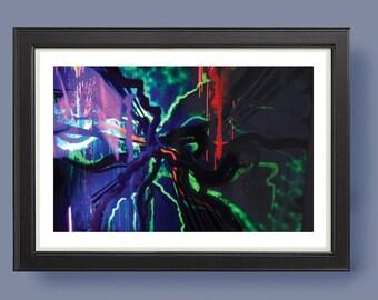NEON NIGHTS Abstract modern art print ; neon wall print; from original mixed media
