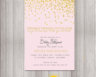 Baby Shower Invitation Personalised Neutral Girl Print your Own Stars Twinkle Twinkle Little Star Pink Background