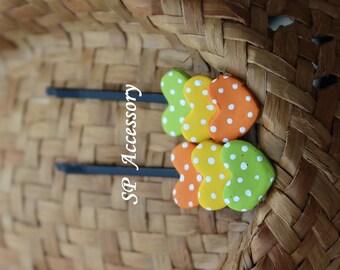 Lovely Hair Pin Triple Hearts, hair pin clay, jewelry hair pin