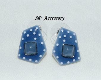 Blue dot pentagon Earrings, stainless steel earrings, jewelry earrings
