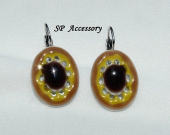 Brown yellow oval earrings, earrings stainless steel, earrings jewelry