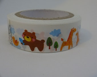 Washi masking white tape with cartoon animals 10 m/11 yards crafting decorative tape cardmaking tape scrapbook tape summer washi tape