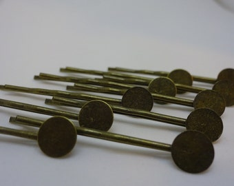 10 pcs Bobby pins with setting Antique Bronze Tone Bobby Pins Hair Clips with Glued Pad Jewelry