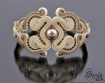 Beige Soutache Bracelet, Beige Creamy bracelet, Beige soutache Jewelry ,Pearl Swarovski ,Elegant soutache bracelet, Glamour bracelet