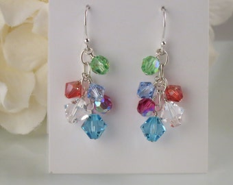 Multi color cluster earring, Swarovski crystal earring