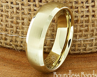 Gold Tungsten Wedding Band Domed Brushed High Polished Customized Tungsten Band Any Design Laser Engraved Ring Mens Tungsten Ring 6mm New