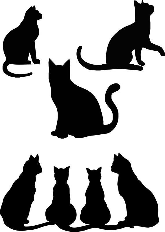 Meow Cats Kittens Kitty Dxf Eps Jpeg Digital Download Vinyl