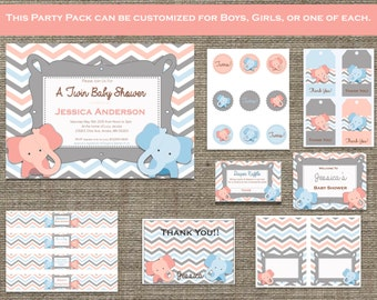 Baby Shower or Birthday Party Pack - Digital Download - Custom - Personalized - Printable- Boy, Girl or Both