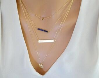 Layering Necklace set, custom birthstone necklace, gemstone necklace, Gold fill Bar necklace, personalized name Necklaces with Gemstones