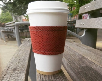 Cotton fabric coffee cup cozy // Cup sleeve