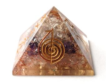 Large Amethyst, Clear Quartz & Rose Quartz Reiki Engraved Orgone Pyramid