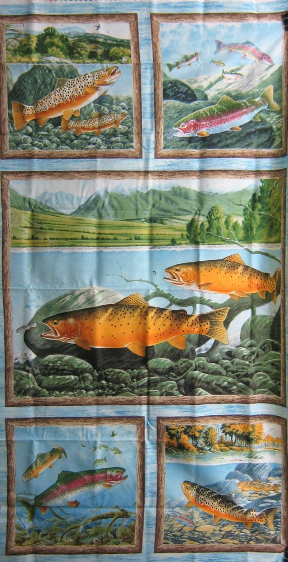 Elusive catch fabric panel wilmington trout quilt top for Fish fabric for quilting