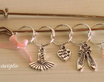 Knitting Stitch Markers, Segnapunti Maglia, Contapunti Maglia, Ballerina Stitch Markers, Set of 5, Knitting Supplies, Gift for Knitters