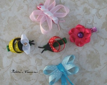 SALE!!! Sculpt ribbon Bugs.Ribbon flower.Butterfly ribbon.Lady bug Hair Clip.Dragonfly hair Clip.Girls Gift Baby shower gift