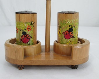 Gorgeous Hand Made Salt & Pepper Shakers With Hand Painted LadyBugs  / HouseWarming Gift