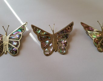 SALE!!! Set of 3 Vintage Silver and Mother of Pearl Floating Butterfly Pendants
