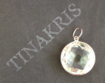 14k solid rose gold and white quartz large pendant charm