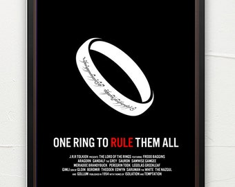 Lord of the Rings poster, literature poster, book art, classic literature, minimalist, contemporary art