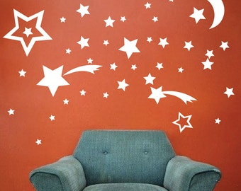 Bedroom Stars Decals, Star Stickers, Removable Kids Room Stars, Nursery Stars Wall Decals, Kids' Room Wall Art Decals, Stars Wall Decor, n33