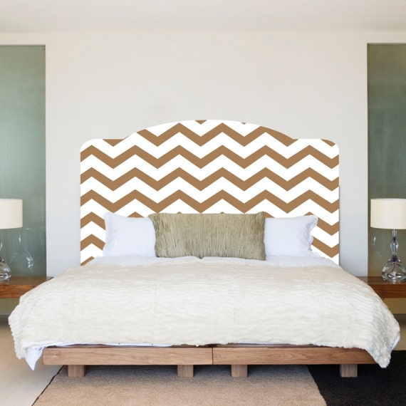 Chevron headboard bedroom wall decal wall decal chevron for Mural headboard