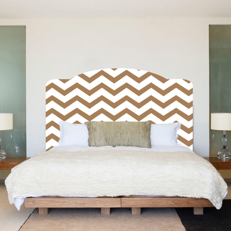 Chevron headboard bedroom wall decal wall decal chevron for Mural headboard