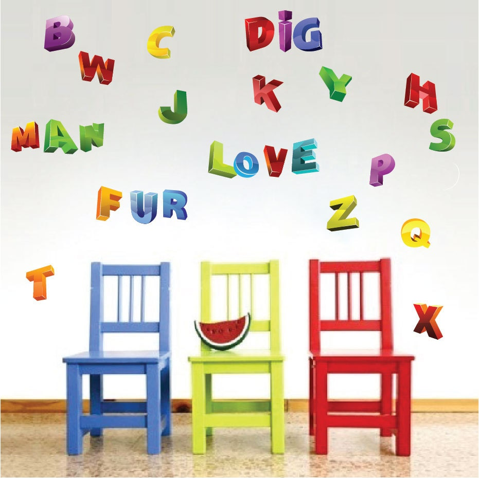 Alphabet wall decals abc wall art alphabet wall designs for Alphabet wall mural