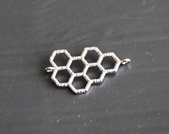 P1-836-R] Honey Comb / 20 x 15mm / Rhodium plated / Pendant / 2 pieces