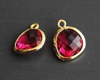 A2-000-G-RU] Ruby Red / 13 x 16mm / Gold plated / Glass Pendant / 2 pieces