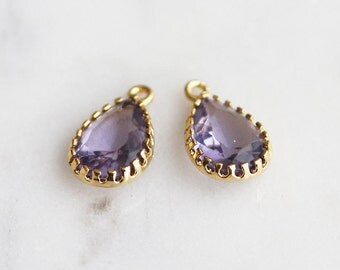 A2-013-G-TZ] Tanzanite / Teardrop / 8 x 14mm / Gold plated / Glass Pendant /  2 pieces