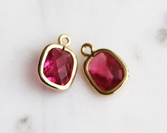 A2-039-G-RU] Ruby Red / 8 x 14mm / Gold plated / Rectangle Glass Pendant /  2 piece(s)