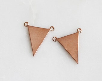 P0-631-PG] Triangle / 10 x 13mm / Pink Gold plated / Pendant / 2 piece(s)
