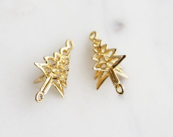 P0-818-G] Christmas Tree / 14 x 23mm / Gold plated / Pendant Connector / 2 piece(s)