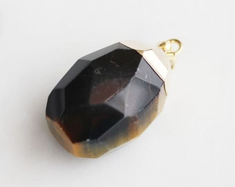 A2-131-G-TG] Tiger's Eye / Gold plated / Stone Pendant / 1 piece