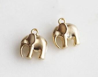 P1-228-L-MG] Elephant / 11mm / Matt Gold plated / Pendant / 2 piece(s)