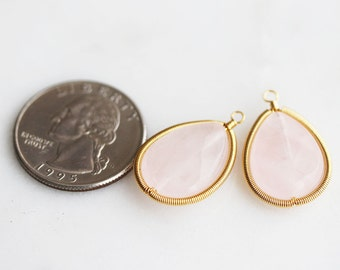 A2-392-G] Rose Quartz / Teardrop / 16 x 25mm / Gold plated / Wire Looped Stone Pendant / 2 piece(s)