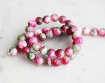 50% Off ENTIRE STORE // A2-620-A16-8] Green and Pink Agate / 8mm / Round Ball Bead  / 1/2 strand