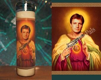 Firefly Candle / Malcolm Reynolds Prayer Candle / Joss Whedon Fan Art