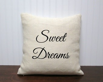 Sweet Dreams Burlap Pillow Cover. Custom Pillow Cover. 16x16 - 26x26 Personalized Gift. Zipper enclosure