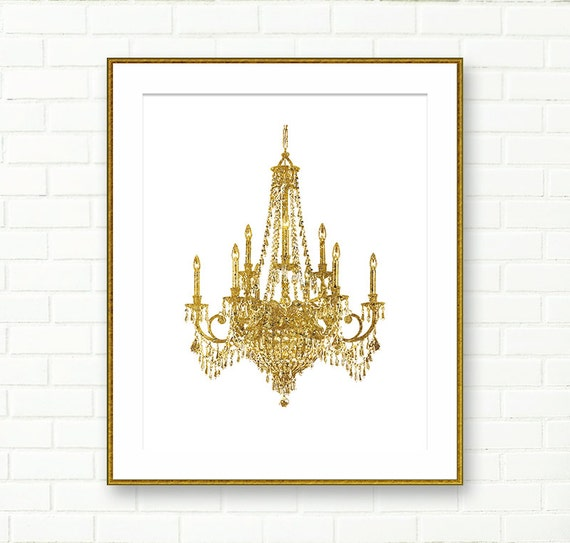 Gold Glitter Wall Decor : Chandelier print gold instant download
