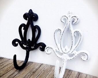 bold modern black u0026 white set of 2 ornate lotus flower wall hook towel